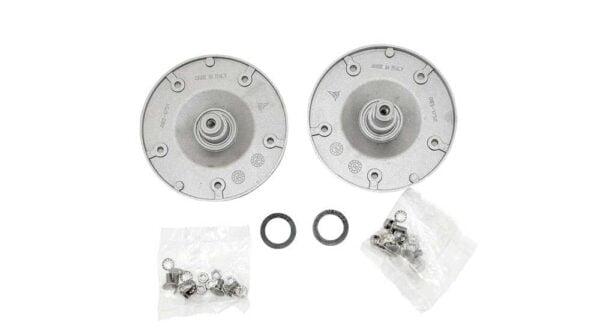 Опора барабана 380523 / 480110100802 стиральной машины Whirlpool, Ignis, Bauknecht с вертикальной загрузкой белья. Ступица / фланец / блок подшипников Whirlpool 480110100802 (EBI COD 085). В ремкомплект входит: 2 фланца, 2 уплотнителя (V-Ring), 2 набора крепежей. Диаметр фланца 115 мм. Крепление: 5 отверстий по 5 мм. Левый фланец Whirlpool 461973085042. Правый фланец Whirlpool 461973090482. Взаимосвязанный код: C00380523