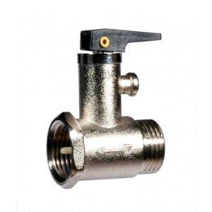 Клапан предохранительный для бойлера (водонагревателя). Универсальный. Давление 8,5 ± 1 bar. Максимальная температура воды 100°C, размер подключения 1/2. С рычагом для открытия клапана.