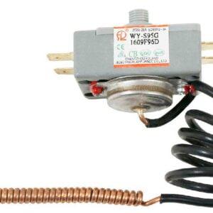 Термостат капиллярный WY-S95G для горизонтальных бойлеров (водонагревателей) Thermex, Ariston. Термопредохранитель (терморегулятор) служит для поддержания заданной температуры путем замыкания/размыкания электрической цепи. Температура срабатывания: 95°C. Номинальное напряжение/ток: 250V, 20А. Выносной капиллярный датчик в оплетке: 0,4 м. Подключение: 4 клеммы. Для водонагревателей Thermex: IS 30 V, IS 50 V, IR 50 V, IR 80 V, IR 100 V, IR 120 V, IR 150 V, RZB 30 F, RZB 50 F, RZB 80 F, RZB 100 F, RZL 30, RZL 50, RZL 80, RZL 100, RZL 30 VS, RZL 50 VS, RZL 80 VS, RZL 100 VS, RZL 120 VS, RZL 150 VS, RZL 30 VP, RZL 50 VP, RZL 80 VP, RZL 100 VP, H 10 O, H 10 U, H 15 O, H 30 O, IS30V, IS50V, IR50V, IR80V, IR100V, IR120V, IR150V, RZB30F, RZB50F, RZB80F, RZB100F, RZL30, RZL50, RZL80, RZL100, RZL30VS, RZL50VS, RZL80VS, RZL100VS, RZL120VS, RZL150VS, RZL30VP, RZL50VP, RZL80VP, RZL100VP, H10O, H10U, H15O, H30O Для водонагревателей Ariston: SHT 30 H, SHT 50 H, SHT 80 H, SHT 100 H, SHT-EL 30 H, SHT-EL 50 H, SHT-EL 80 H, SHT-EL 100 H, SHT30H, SHT50H, SHT80H, SHT100H, SHT-EL30H, SHT-EL50H, SHT-EL80H, SHT-EL100H