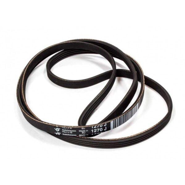 Поликлиновый приводной ремень 1270 J4 стиральных машин Ariston, Indesit. Ремень привода для стиральных машин Аристон, Индезит. Примерная длина в натянутом состоянии: 1270 мм. Профиль: поликлиновый (ручейковый) J, 4 ребра - расстояние между клиньями 2.34 мм. Ремень стиральной машины BLJ556UN, BLJ484UN.