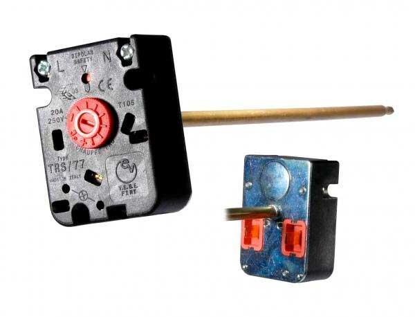 Термостат для водонагревателя - бойлера Универсальный (ТИП TRS/77, 20A, 20-80°C, С термопредохранителем, Длина капиляра - 275 мм). Оригинальный код: WTH404UN, CU4805
