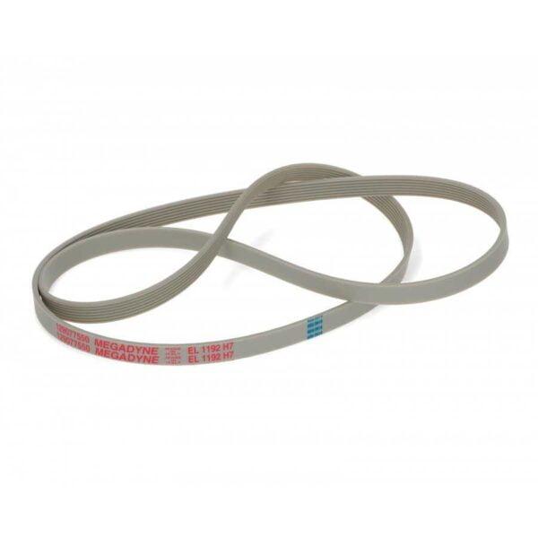 Ремень привода 1192 Н7 EL для стиральных машин. Длина в натянутом состоянии: 1192 мм. Профиль: поликлиновый (ручейковый) H, 7 ребер - расстояние между клиньями 1.6 мм